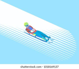 Winter sport Luge. Athlete on a sledge (face up) on a snowy track. Vector illustration EPS-8.