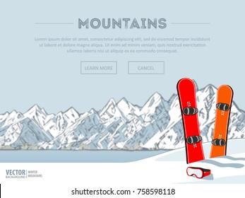 Winter sport objects. Two red snowboards. Mountains in winter season. Ski resort season is open. Ski lift. Winter web banner design. Vector background.