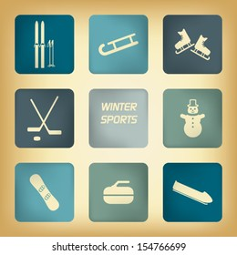 Winter sport pictograms with various winter sports in vintage design