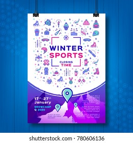 Winter sport poster, Contest closing time, Snowboarding flyer or Snow camp card. Design mock-up poster, flyers or cards on creative wooden background. Line art icons, Vector flat illustration