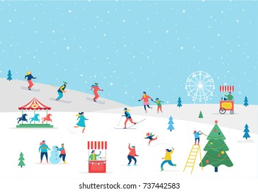 Winter sport scene, Christmas street event, festival and fair, with people, families make fun