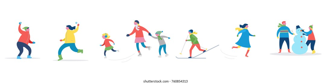 Winter sport scene, Christmas street event, festival and fair with people