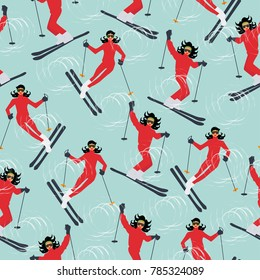 Winter sport seamless pattern. Young beautiful woman skiing in mountains.  Colorful vector illustration.