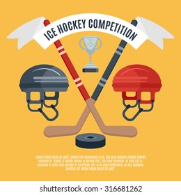Winter sport season ice hockey competition award announcement flat banner with puck and sticks abstract vector illustration