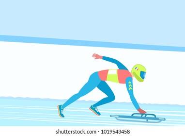 Winter sport Skeleton. Athlete on a sledge (facedown) on a snowy track. Vector illustration EPS-8.