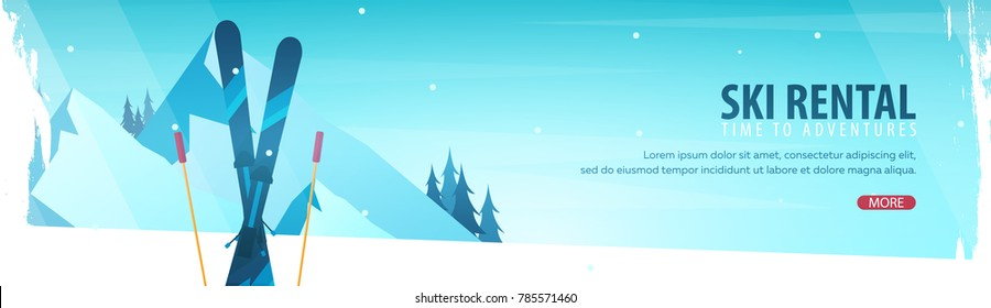 Winter Sport. Ski Rental horizontal banner. Vector illustration