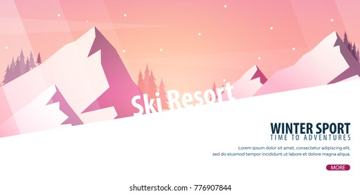 Winter Sport. Ski and Snowboard. Mountain landscape. Sportsman ski slope down. Vector illustration