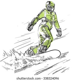 Winter sport, snowboarding collection, hand drawing