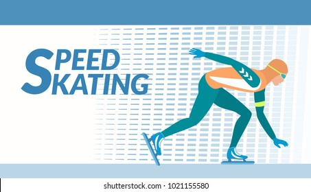 Winter sport - Speed skating. The skater moves with high speed on the ice rink. Vector illustration EPS-8.