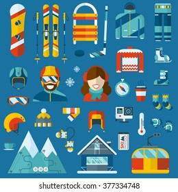 Winter sports and activity pictogram collection. Snowboard travel flat icons. Snow games vector elements and accessories. Ski resort holidays. Snowboarder  man and woman. Winter activity icon set.