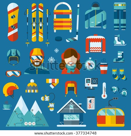 50dbf9610e1e Winter sports and activity pictogram collection. Snowboard travel flat icons.  Snow games vector elements
