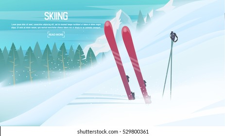 Winter sports - alpine skiing. Sportsman ski slope down from the mountain