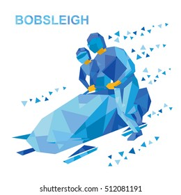 Winter sports - bobsleigh. Cartoon athletes running near bobsled. Sportsmen with blue patterns bobsledding. Flat style vector clip art isolated on white background.