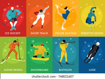Winter sports cards set with luge freestyle ice hockey short track alpine skiing figure skating isolated vector illustration