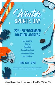 Winter Sports Day poster invitation Vector illustration. Winter sport equipment on blue background.
