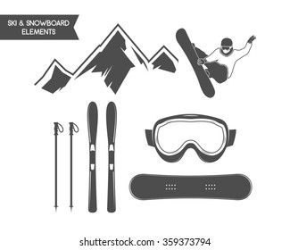 Winter sports elements. Snowboard, ski symbols. Outdoor adventure icon. Travel hand drawn and hipster monochrome insignia for logo, infographics, labels, badges. Camping emblem. Wilderness Vector.