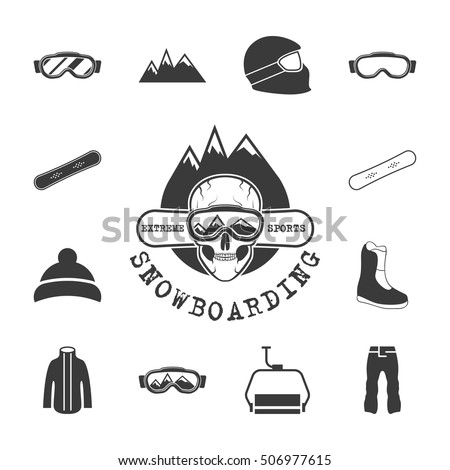 46ca199e00d3 Winter Sports Equipment Icons Set Flat Stock Vector (Royalty Free ...