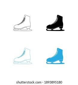 winter sports ice skating shoes vector illustration flat line design. skate icon set