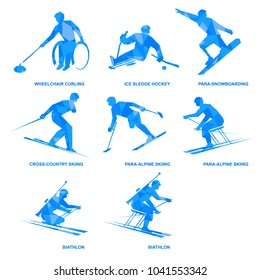 Winter sports icon set. Eight silhouettes of athletes with disabilities. Different kinds of competition - sledge hockey, wheelchair curling, biathlon, para-alpine skiing, para-snowboarding.