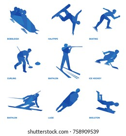 Winter sports icon set. Nine silhouettes of athletes with deep blue pattern: bobsleigh, skating, ice hockey, snowboard, curling, biathlon, skeleton, luge