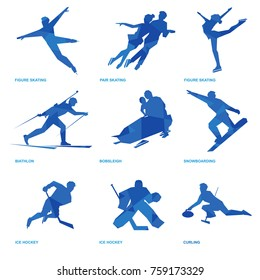 Winter sports icon set. Nine silhouettes of athletes with deep blue pattern: pair and single skating, bobsleigh, ski, ice hockey, snowboard, curling, biathlon