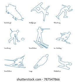 Winter sports icon set. Nine line silhouettes of athletes with deep blue pattern: bobsleigh, skating, ice hockey, snowboard, curling, biathlon, skeleton, luge
