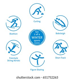 Winter sports icons, set 1 of 4, vector pictograms for web, print and other projects. 6 olympic species of events
