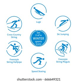 Winter sports icons set, 2 of 4, vector pictograms for web, print and other projects. 6 olympic species of events.