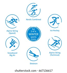 Winter sports icons set, 3 of 4, vector pictograms for web, print and other projects. 6 olympic species of events.