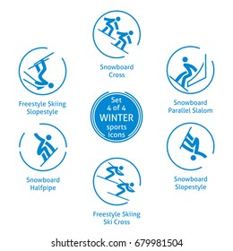 Winter sports icons set, 4 of 4, vector pictograms for web, print and other projects. 6 olympic species of events.