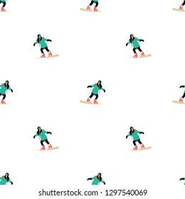 Winter sports illustration - Snowboarding seamless pattern