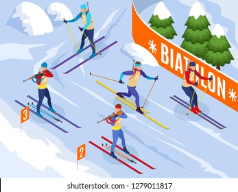 Winter sports isometric background illustrated athletes on ski participating in biathlon competitions vector illustration