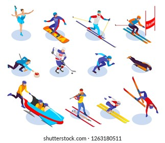 Winter sports isometric icons set of  snowboarding slalom curling freestyle figure skating ice hockey biathlon isometric vector illustration