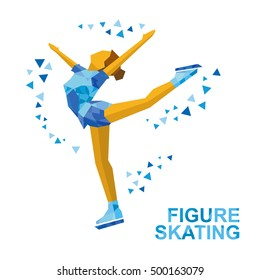 Winter sports - Ladies Figure Skating. Cartoon skating girl training. Ice show. Flat style vector clip art isolated on white background.