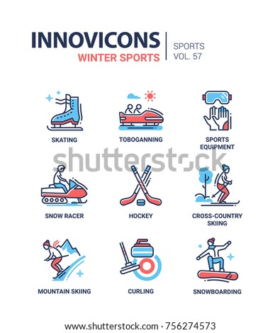 19aaf494c054 Winter Sports Line Design Icons Set Stock Vector (Royalty Free ...