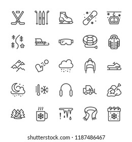 Winter sports line icons. Cold weather outdoor activities - skiing, hockey, snowboard, snowball game, snow removal vector illustrations. Signs for equipment store. Pixel perfect 64x64 Editable Strokes