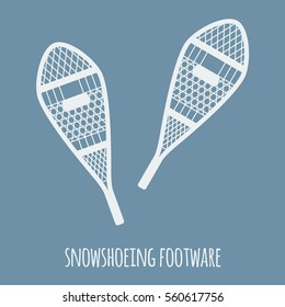 winter sports and outdoor activities equipment: pair of snowshoeing footware on a light blue background. vector eps-10