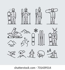 Winter sports outdoor activities vector icons