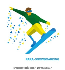 Winter sports  - para-snowboarding. Disabled snowboarder during a jump. Athlete with physical disabilities on snowboard isolated on white background. Flat style vector clip art.