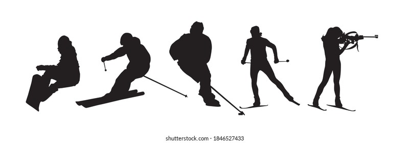 Winter sports silhouettes. Set od isolated vector icons. Active people