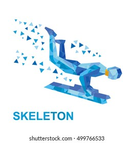 Winter sports - skeleton. Cartoon sportsman with blue pattern jump on sled (bobsled). Flat style vector clip art isolated on white background