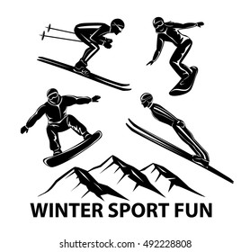 Winter Sports. Skiing, ski jumping and snowboarding sportsmen silhouettes
