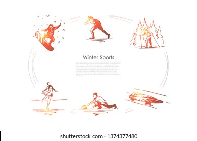 Winter sports - snowboard, skating, skiing, figure skating, bobsleigh, curling vector concept set