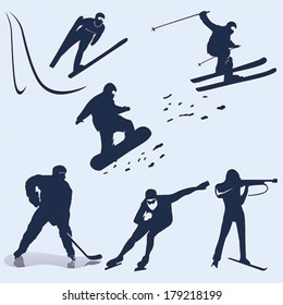 Winter sports vector silhouette pack of icons, can be used for web or printing