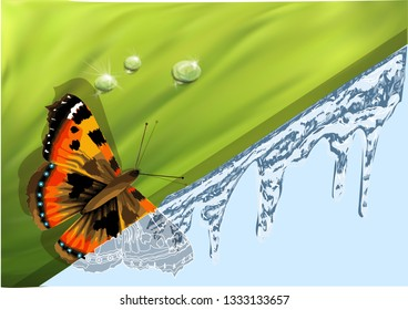 winter and spring. abstract background with butterfly. 10 EPS