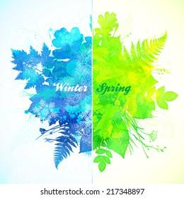 Winter - spring season watercolor vector illustration