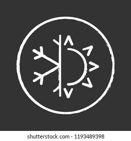 Winter and summer chalk icon. Dual season mattress. Four seasons. Air conditioning. Sun and snowflake. Isolated vector chalkboard illustration