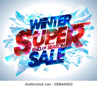 Winter super sale vector poster with explosion 3d pieces of ice