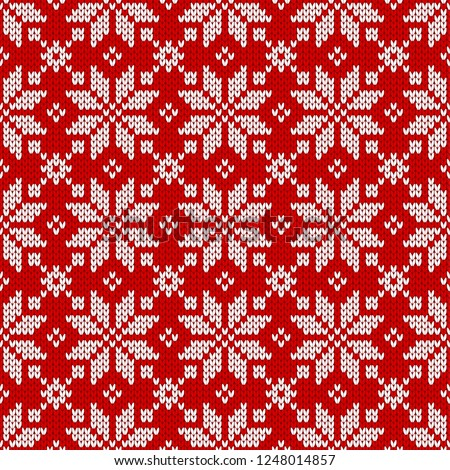 a4d495c088ce Winter sweater fairisle design. Seamless christmas and new year wool  knitting pattern. Vector illustration with snowflakes. Holiday traditional  background.