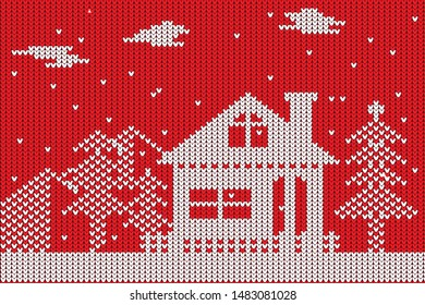 The winter sweater with merry christmas design.